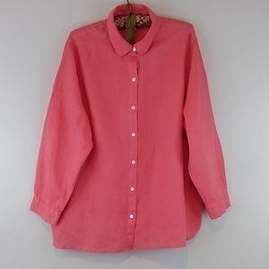 J. Jill Love Linen Button Front Shirt Size 2X